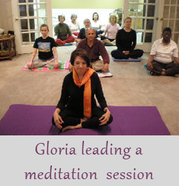 Gloria leading a meditaion session